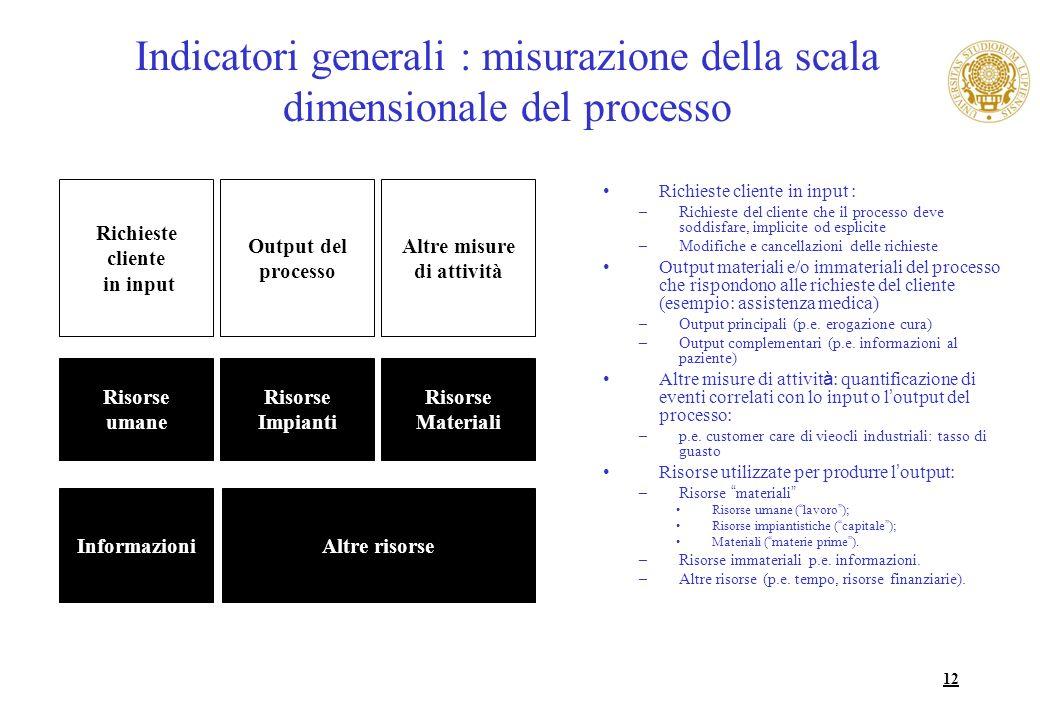 12 Indicatori generali : misurazione della scala dimensionale del processo Richieste cliente in input : –Richieste del cliente che il processo deve so