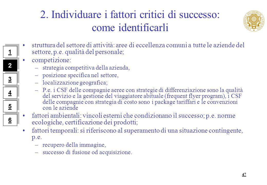 47 2. Individuare i fattori critici di successo: come identificarli struttura del settore di attività: aree di eccellenza comuni a tutte le aziende de