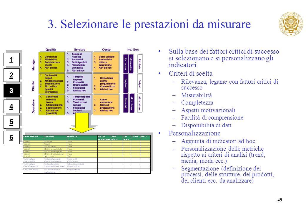 49 3. Selezionare le prestazioni da misurare Sulla base dei fattori critici di successo si selezionano e si personalizzano gli indicatori Criteri di s