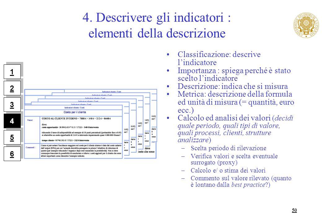 50 4. Descrivere gli indicatori : elementi della descrizione Classificazione: descrive lindicatore Importanza : spiega perché è stato scelto lindicato