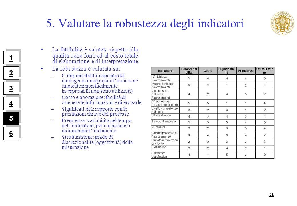 51 5. Valutare la robustezza degli indicatori La fattibilità è valutata rispetto alla qualità delle fonti ed al costo totale di elaborazione e di inte