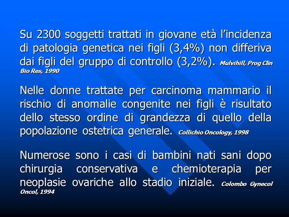 Su 2300 soggetti trattati in giovane età lincidenza di patologia genetica nei figli (3,4%) non differiva dai figli del gruppo di controllo (3,2%). Mul