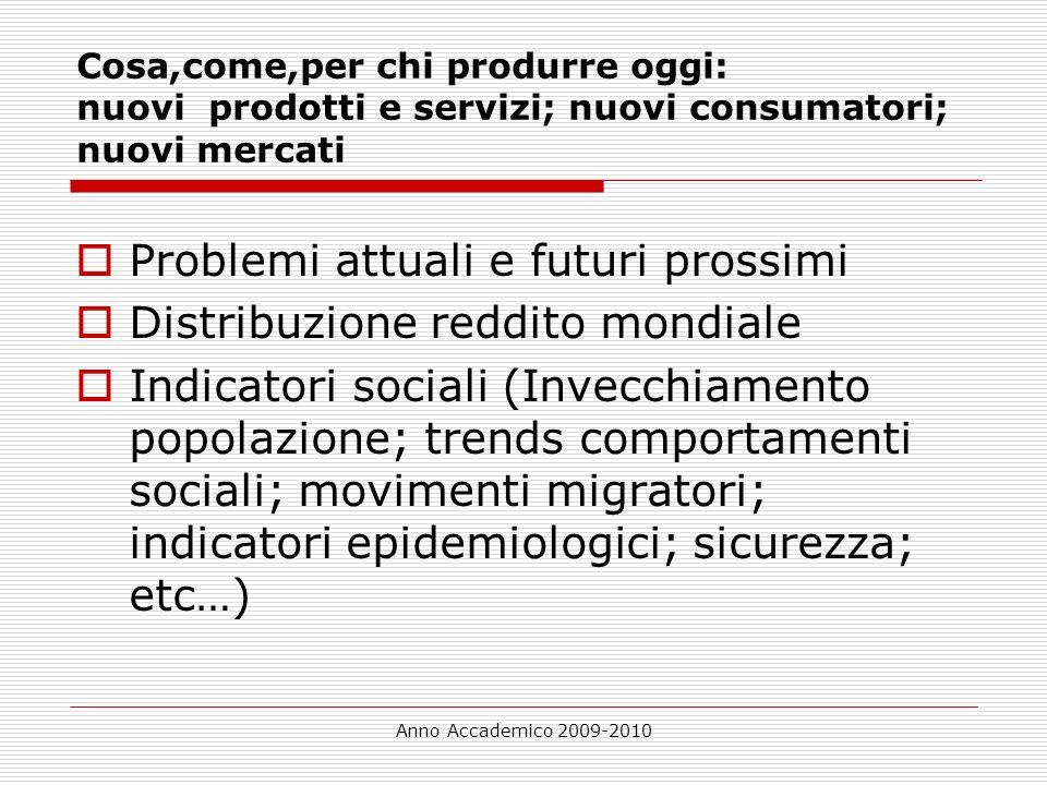 Anno Accademico 2009-2010 Cosa,come,per chi produrre oggi: nuovi prodotti e servizi; nuovi consumatori; nuovi mercati Problemi attuali e futuri prossi