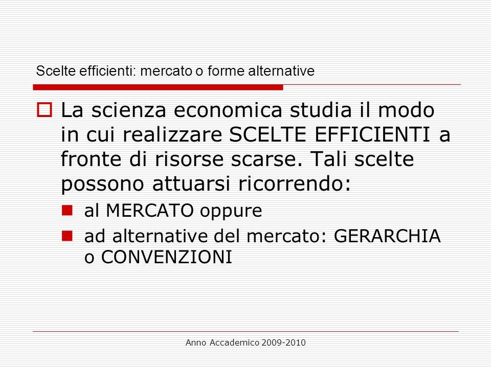 Anno Accademico 2009-2010 Scelte efficienti: mercato o forme alternative La scienza economica studia il modo in cui realizzare SCELTE EFFICIENTI a fro