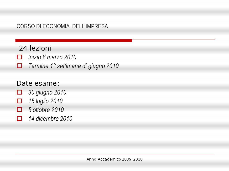 Anno Accademico 2009-2010 Economie PIANIFICATE: problemi Informativo (scarso coordinamento raccolta risorse, distribuzione,…) Incentivazione produttività posto fisso L Obiettivi quantitativi ( no qualità, no ambiente ) Soddisfazione consumatori Qualità servizi Pubblica Amministrazione