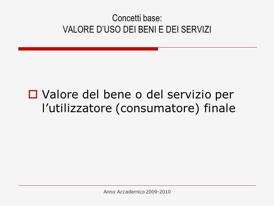 Anno Accademico 2009-2010 Concetti base: VALORE DUSO DEI BENI E DEI SERVIZI Valore del bene o del servizio per lutilizzatore (consumatore) finale