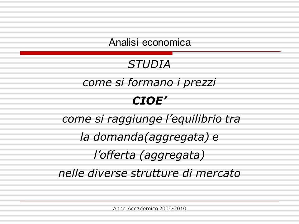 Anno Accademico 2009-2010 Analisi economica STUDIA come si formano i prezzi CIOE come si raggiunge lequilibrio tra la domanda(aggregata) e lofferta (a
