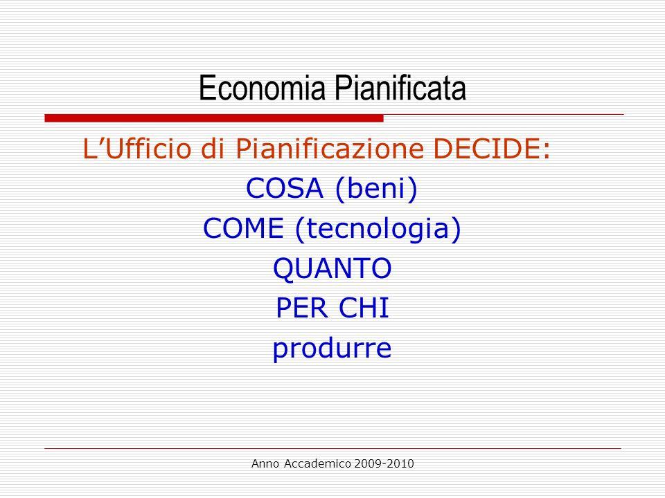 Anno Accademico 2009-2010 Economia Pianificata LUfficio di Pianificazione DECIDE: COSA (beni) COME (tecnologia) QUANTO PER CHI produrre