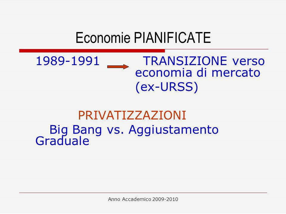 Anno Accademico 2009-2010 Economie PIANIFICATE 1989-1991 TRANSIZIONE verso economia di mercato (ex-URSS) PRIVATIZZAZIONI Big Bang vs. Aggiustamento Gr