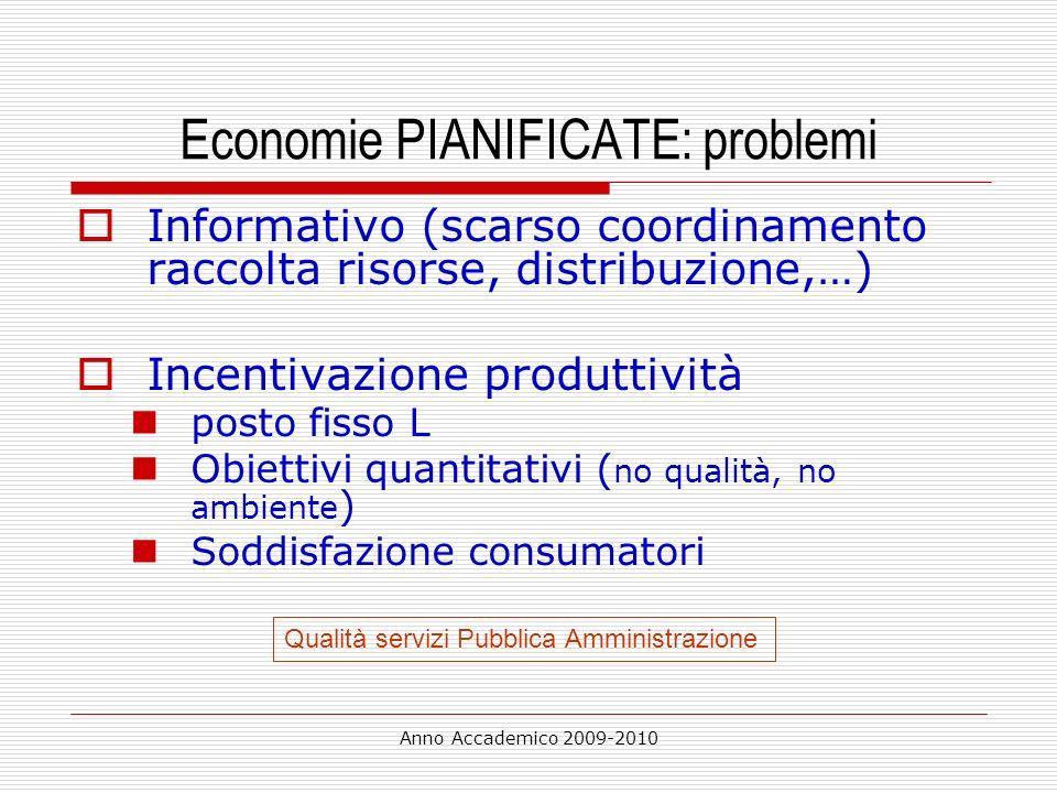Anno Accademico 2009-2010 Economie PIANIFICATE: problemi Informativo (scarso coordinamento raccolta risorse, distribuzione,…) Incentivazione produttiv