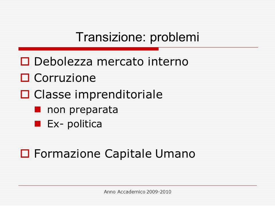 Anno Accademico 2009-2010 Transizione: problemi Debolezza mercato interno Corruzione Classe imprenditoriale non preparata Ex- politica Formazione Capi