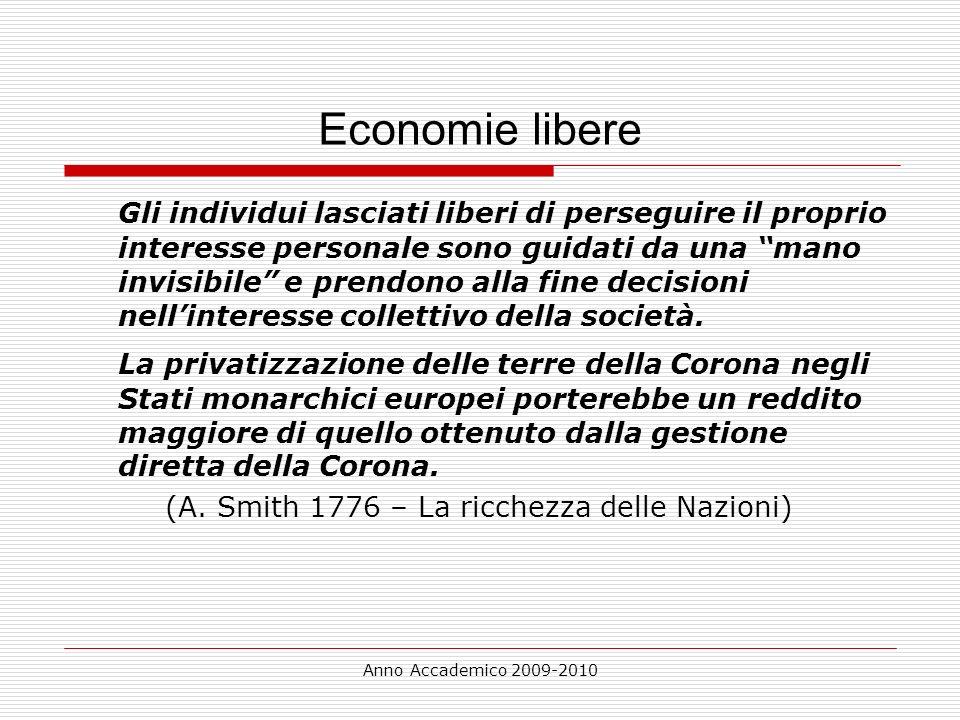Anno Accademico 2009-2010 Economie libere Gli individui lasciati liberi di perseguire il proprio interesse personale sono guidati da una mano invisibi
