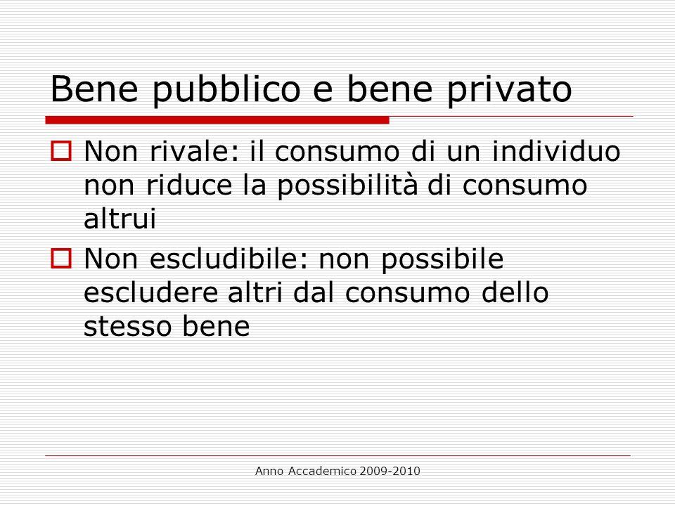 Anno Accademico 2009-2010 Bene pubblico e bene privato Non rivale: il consumo di un individuo non riduce la possibilità di consumo altrui Non escludib
