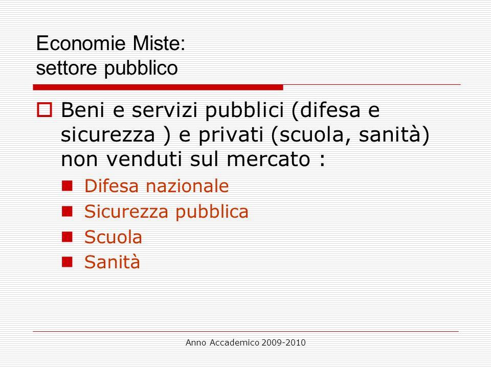 Anno Accademico 2009-2010 Economie Miste: settore pubblico Beni e servizi pubblici (difesa e sicurezza ) e privati (scuola, sanità) non venduti sul me