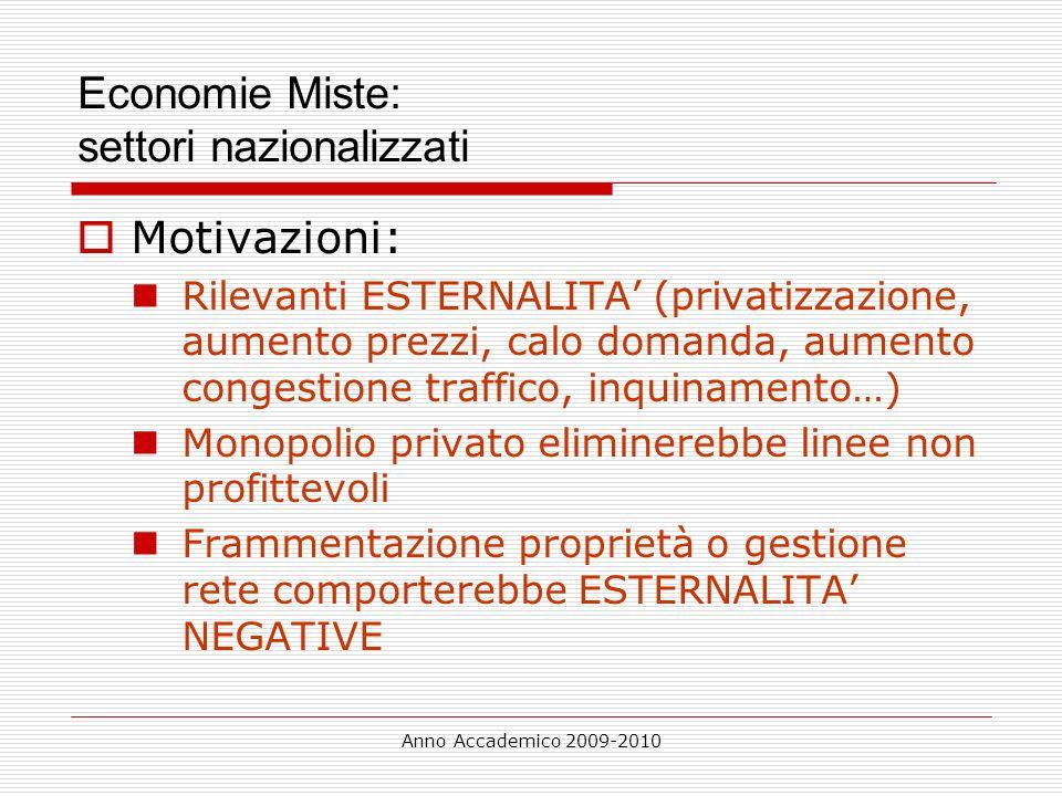 Anno Accademico 2009-2010 Economie Miste: settori nazionalizzati Motivazioni: Rilevanti ESTERNALITA (privatizzazione, aumento prezzi, calo domanda, au