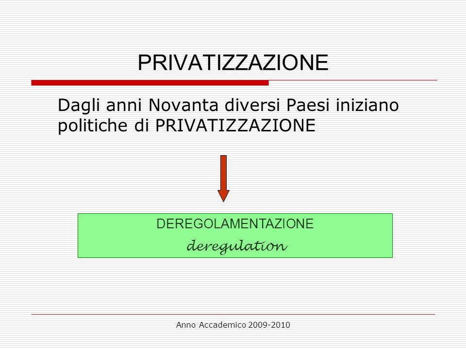 Anno Accademico 2009-2010 PRIVATIZZAZIONE Dagli anni Novanta diversi Paesi iniziano politiche di PRIVATIZZAZIONE DEREGOLAMENTAZIONE deregulation