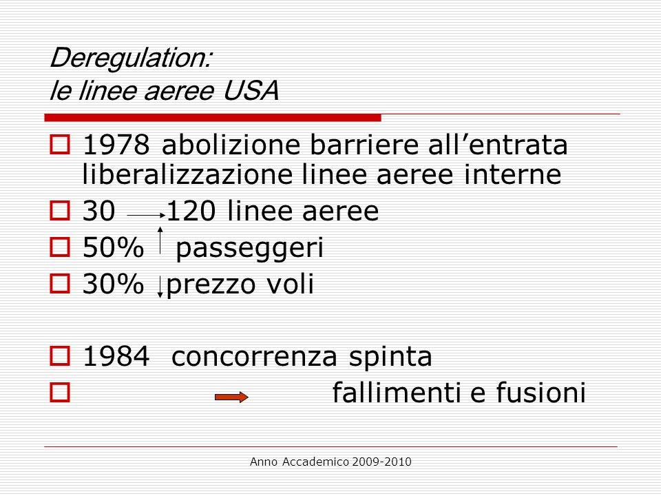 Anno Accademico 2009-2010 Deregulation: le linee aeree USA 1978 abolizione barriere allentrata liberalizzazione linee aeree interne 30 120 linee aeree