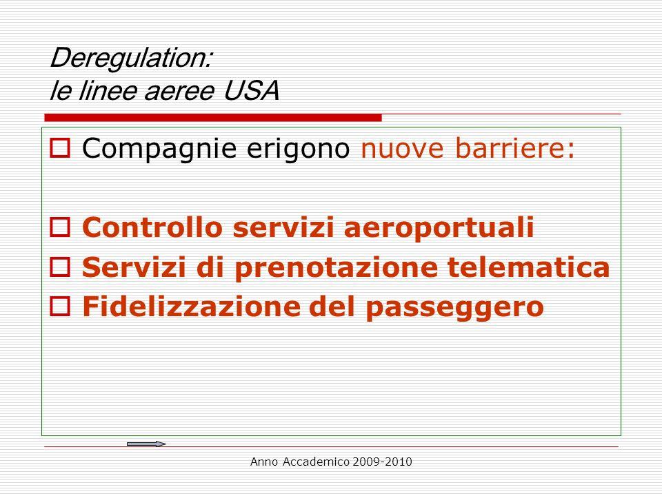 Anno Accademico 2009-2010 Deregulation: le linee aeree USA Compagnie erigono nuove barriere: Controllo servizi aeroportuali Servizi di prenotazione te