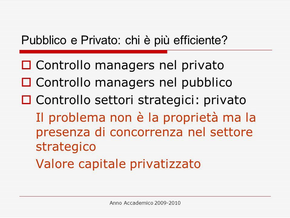 Anno Accademico 2009-2010 Pubblico e Privato: chi è più efficiente? Controllo managers nel privato Controllo managers nel pubblico Controllo settori s
