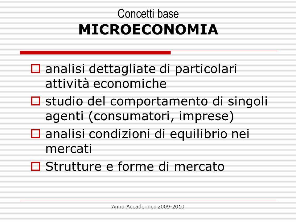 Anno Accademico 2009-2010 Concetti base MICROECONOMIA analisi dettagliate di particolari attività economiche studio del comportamento di singoli agent
