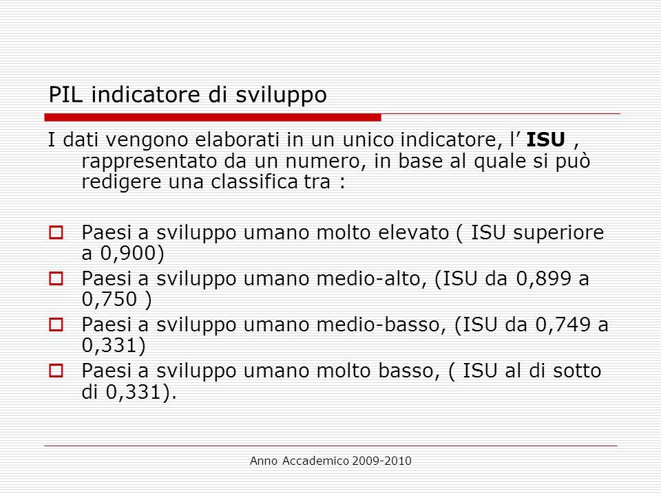 Anno Accademico 2009-2010 PIL indicatore di sviluppo I dati vengono elaborati in un unico indicatore, l ISU, rappresentato da un numero, in base al qu