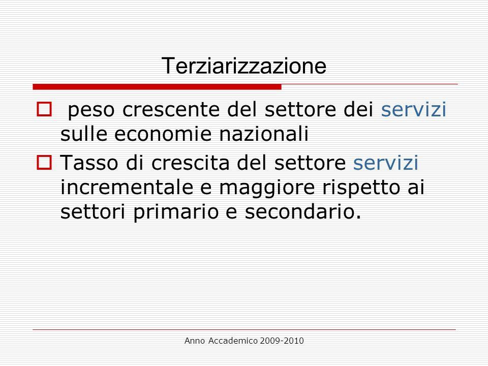 Anno Accademico 2009-2010 Terziarizzazione peso crescente del settore dei servizi sulle economie nazionali Tasso di crescita del settore servizi incre