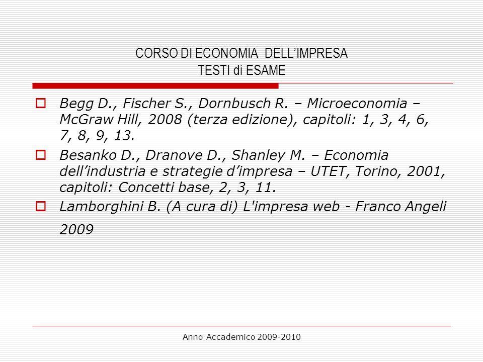 Anno Accademico 2009-2010 Programma di esame testo: MICROECONOMIA – BEGG-FISCHER-DORNBUSCH -McGraw Hill 3° edizione – (2008) CAPITOLO 1 : SCIENZA ECONOMICA ED ECONOMIA CAPITOLO 3: DOMANDA, OFFERTA E MERCATO CAPITOLO 4 : ELASTICITA DELLA DOMANDA E DELLOFFERTA (APPENDICE NO) CAPITOLO 6 : INTRODUZIONE ALLA TEORIA DELLOFFERTA CAPITOLO 7: LA TEORIA DELLOFFERTA : TECNOLOGIA E COSTI CAPITOLO 8: CONCORRENZA PERFETTA E MONOPOLIO PERFETTO CAPITOLO 9: CONCORRENZA IMPERFETTA: MONOPOLIO NATURALE E CONCORRENZA MONOPOLISTICA CAPITOLO 13: INFORMAZIONE E RETI