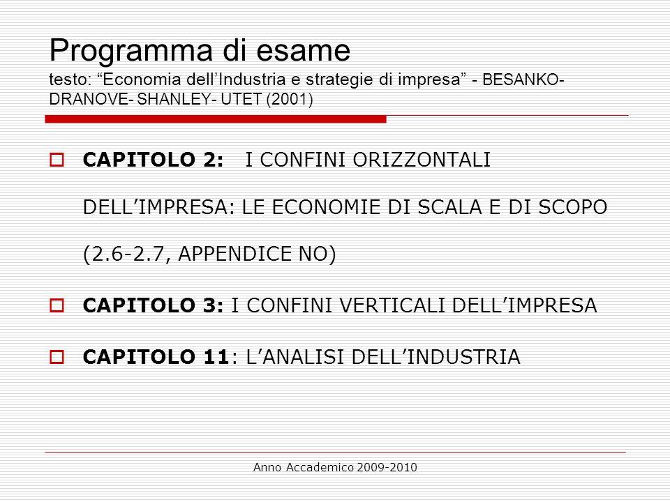 Anno Accademico 2009-2010 Programma di esame testo: Economia dellIndustria e strategie di impresa - BESANKO- DRANOVE- SHANLEY- UTET (2001) CAPITOLO 2: