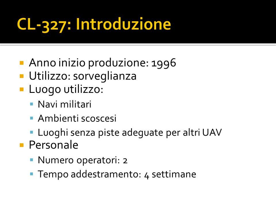Anno inizio produzione: 1996 Utilizzo: sorveglianza Luogo utilizzo: Navi militari Ambienti scoscesi Luoghi senza piste adeguate per altri UAV Personal