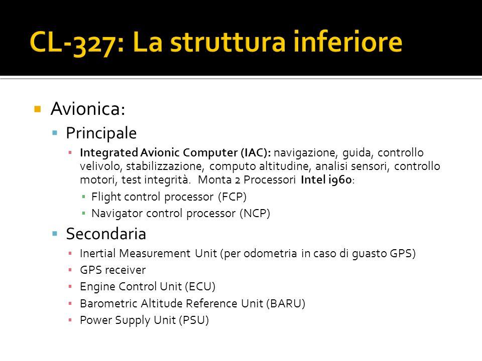 Avionica: Principale Integrated Avionic Computer (IAC): navigazione, guida, controllo velivolo, stabilizzazione, computo altitudine, analisi sensori,