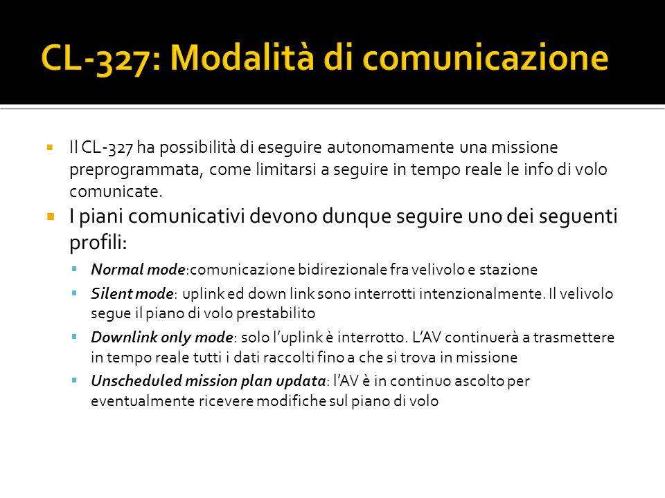Il CL-327 ha possibilità di eseguire autonomamente una missione preprogrammata, come limitarsi a seguire in tempo reale le info di volo comunicate. I