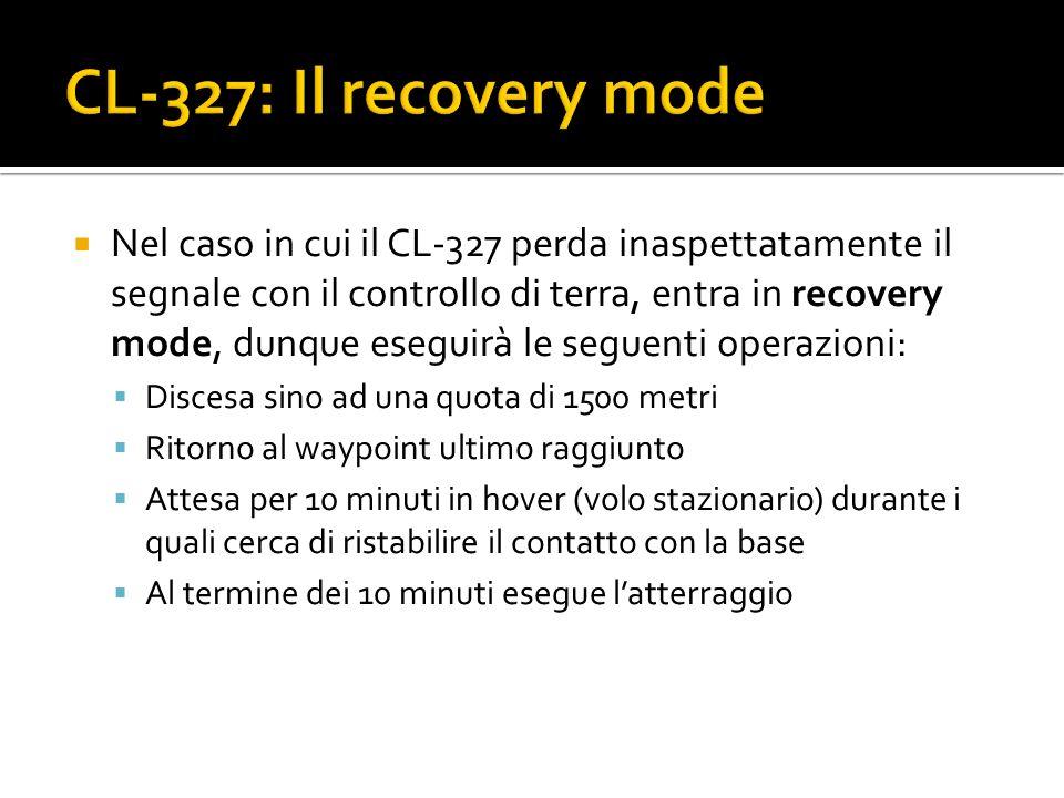 Nel caso in cui il CL-327 perda inaspettatamente il segnale con il controllo di terra, entra in recovery mode, dunque eseguirà le seguenti operazioni: