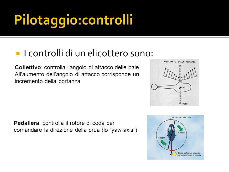 I controlli di un elicottero sono: Manetta: è un semplice acceleratore che consente di controllare il regime del motore e dunque di trasmettere maggiore o minore potenza secondo la necessità del momento.