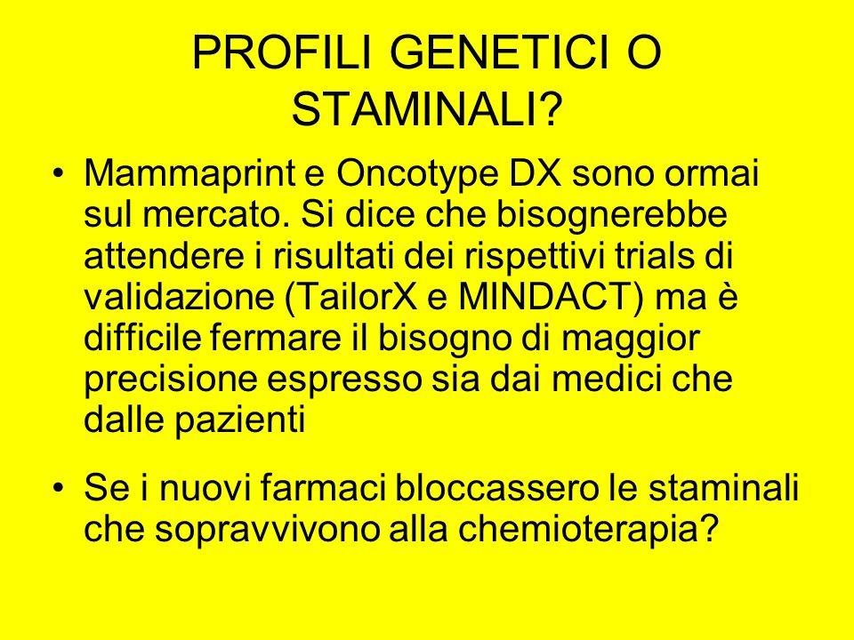 PROFILI GENETICI O STAMINALI.Mammaprint e Oncotype DX sono ormai sul mercato.