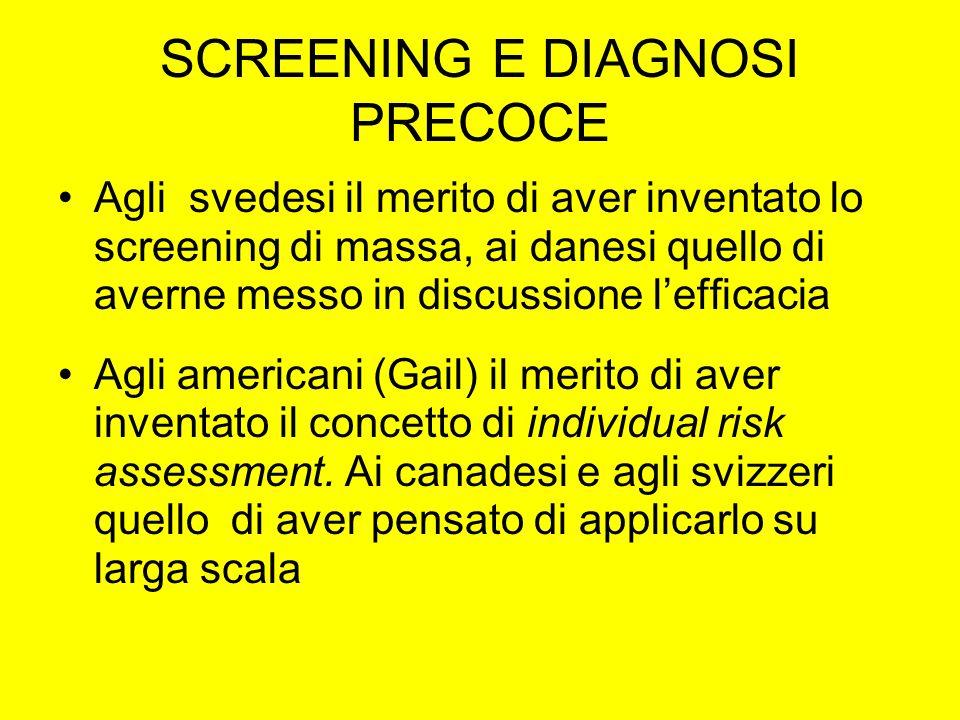 SCREENING E DIAGNOSI PRECOCE Agli svedesi il merito di aver inventato lo screening di massa, ai danesi quello di averne messo in discussione lefficaci