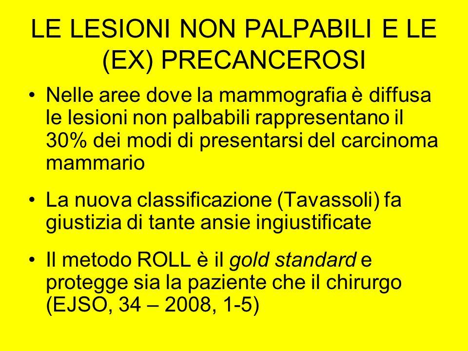 LE LESIONI NON PALPABILI E LE (EX) PRECANCEROSI Nelle aree dove la mammografia è diffusa le lesioni non palbabili rappresentano il 30% dei modi di presentarsi del carcinoma mammario La nuova classificazione (Tavassoli) fa giustizia di tante ansie ingiustificate Il metodo ROLL è il gold standard e protegge sia la paziente che il chirurgo (EJSO, 34 – 2008, 1-5)