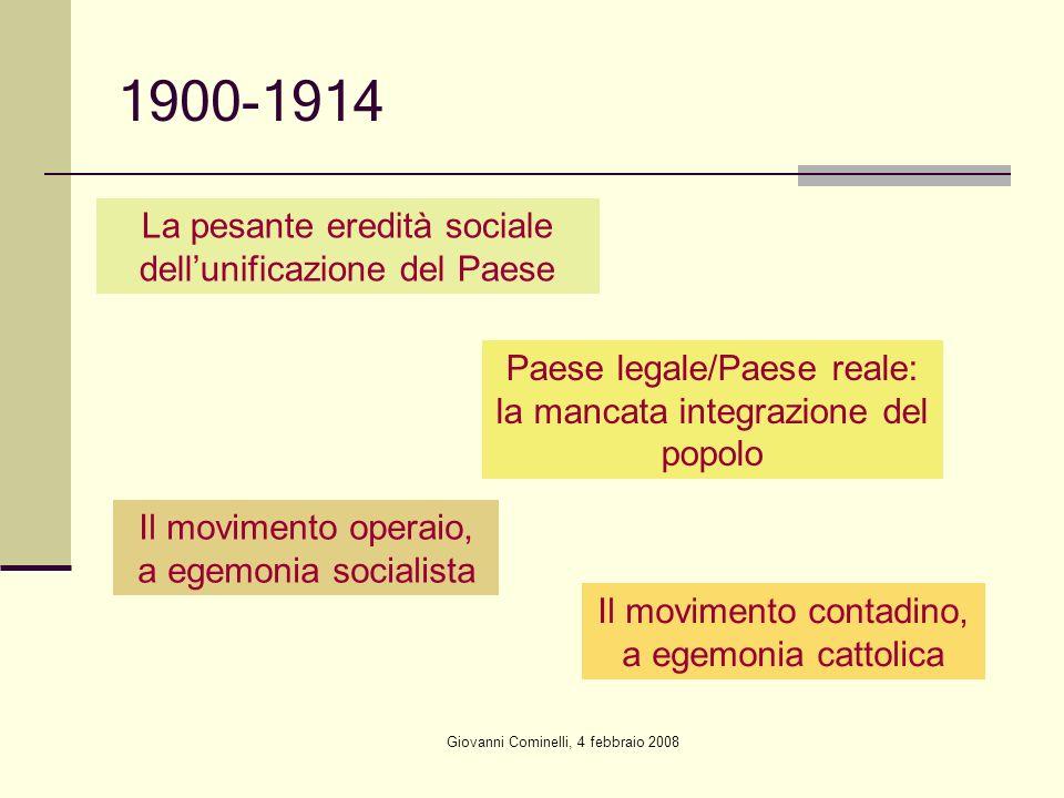 Giovanni Cominelli, 4 febbraio 2008 1900-1914 La pesante eredità sociale dellunificazione del Paese Paese legale/Paese reale: la mancata integrazione