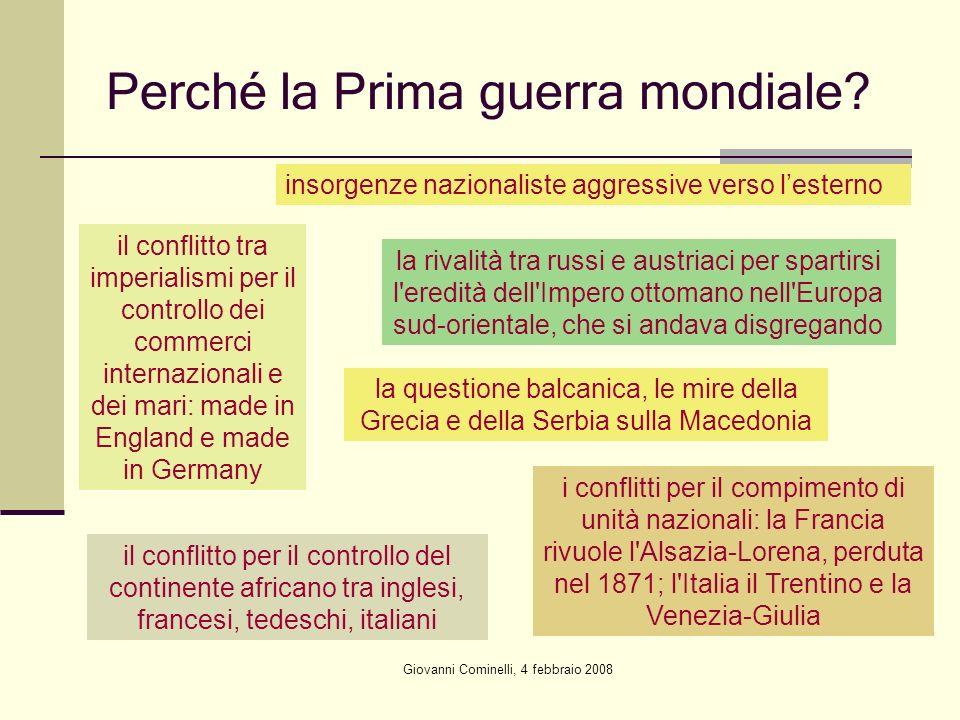 Giovanni Cominelli, 4 febbraio 2008 Perché la Prima guerra mondiale? il conflitto tra imperialismi per il controllo dei commerci internazionali e dei