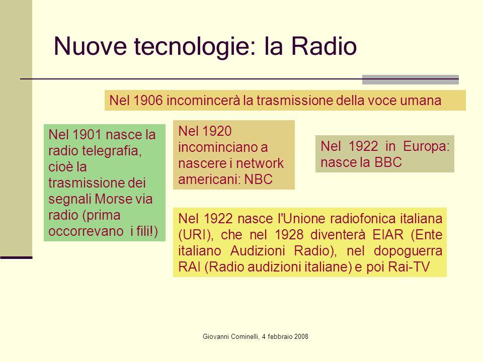 Giovanni Cominelli, 4 febbraio 2008 Nuove tecnologie: la Radio Nel 1901 nasce la radio telegrafia, cioè la trasmissione dei segnali Morse via radio (p