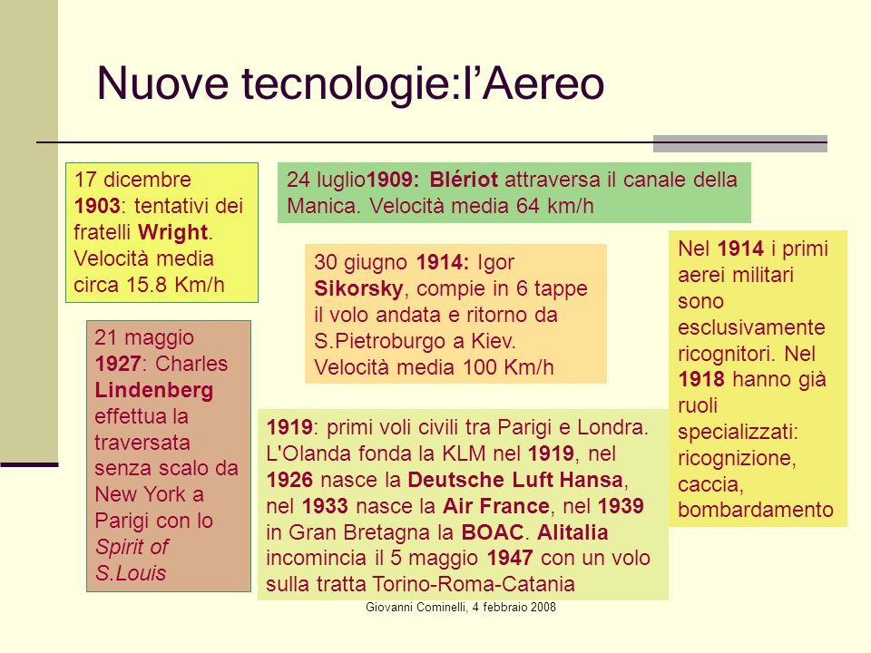 Giovanni Cominelli, 4 febbraio 2008 Nuove tecnologie:lAereo 17 dicembre 1903: tentativi dei fratelli Wright. Velocità media circa 15.8 Km/h 24 luglio1