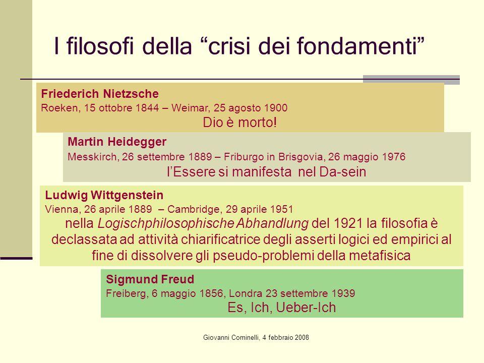 Giovanni Cominelli, 4 febbraio 2008 I filosofi della crisi dei fondamenti Friederich Nietzsche Roeken, 15 ottobre 1844 – Weimar, 25 agosto 1900 Dio è