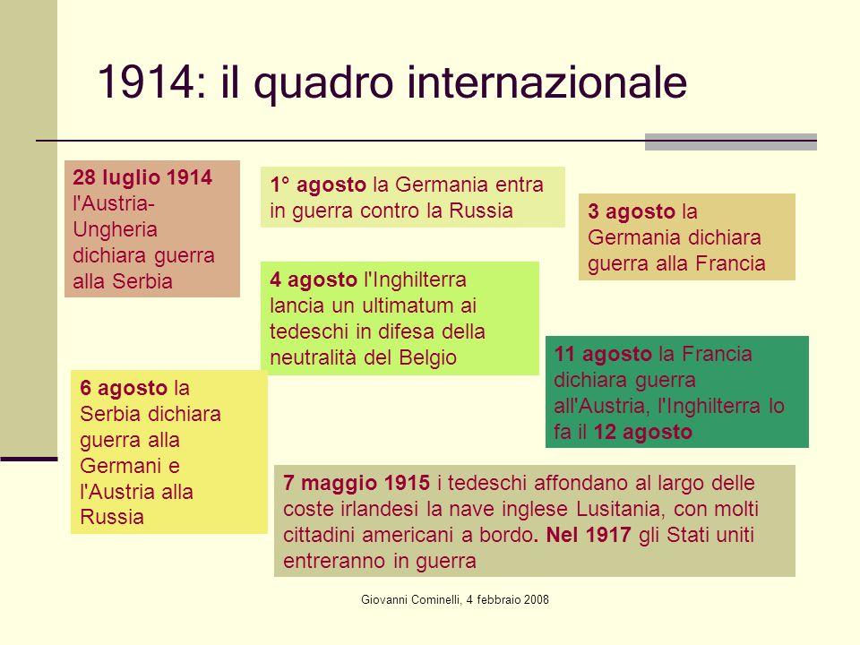 Giovanni Cominelli, 4 febbraio 2008 1914: il quadro internazionale 28 luglio 1914 l'Austria- Ungheria dichiara guerra alla Serbia 1° agosto la Germani