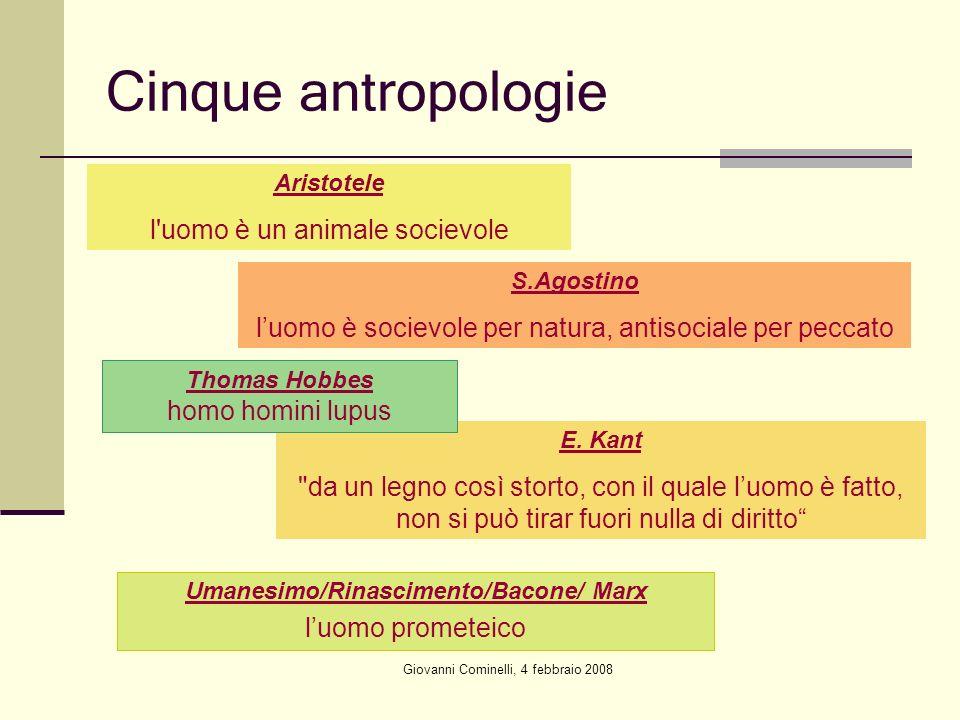 Giovanni Cominelli, 4 febbraio 2008 Cinque antropologie Aristotele l'uomo è un animale socievole S.Agostino luomo è socievole per natura, antisociale
