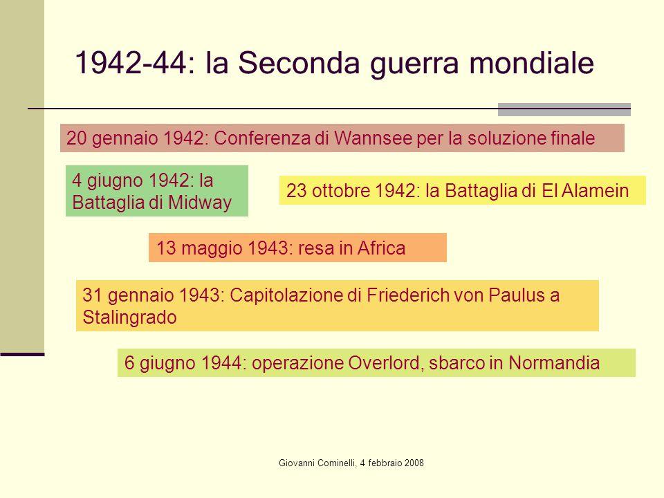 Giovanni Cominelli, 4 febbraio 2008 1942-44: la Seconda guerra mondiale 20 gennaio 1942: Conferenza di Wannsee per la soluzione finale 4 giugno 1942: