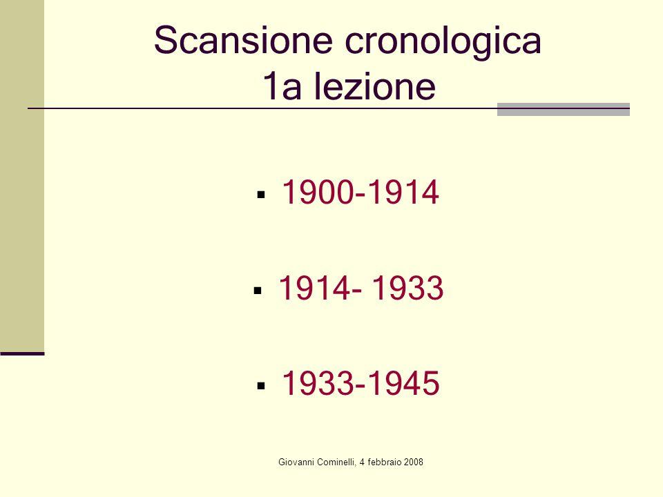 Giovanni Cominelli, 4 febbraio 2008 Scansione cronologica 1a lezione 1900-1914 1914- 1933 1933-1945