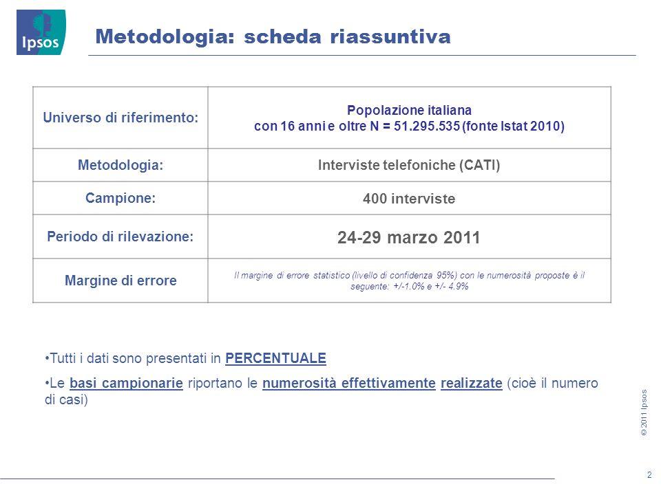 2 © 2011 Ipsos METODOLOGIA Metodologia: scheda riassuntiva Tutti i dati sono presentati in PERCENTUALE Le basi campionarie riportano le numerosità effettivamente realizzate (cioè il numero di casi) Universo di riferimento: Popolazione italiana con 16 anni e oltre N = 51.295.535 (fonte Istat 2010) Metodologia:Interviste telefoniche (CATI) Campione: 400 interviste Periodo di rilevazione: 24-29 marzo 2011 Margine di errore Il margine di errore statistico (livello di confidenza 95%) con le numerosità proposte è il seguente: +/-1.0% e +/- 4.9%