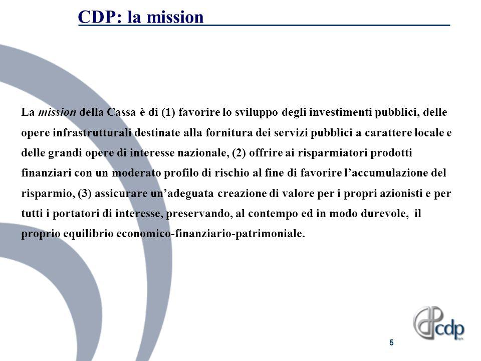 5 CDP: la mission La mission della Cassa è di (1) favorire lo sviluppo degli investimenti pubblici, delle opere infrastrutturali destinate alla fornit