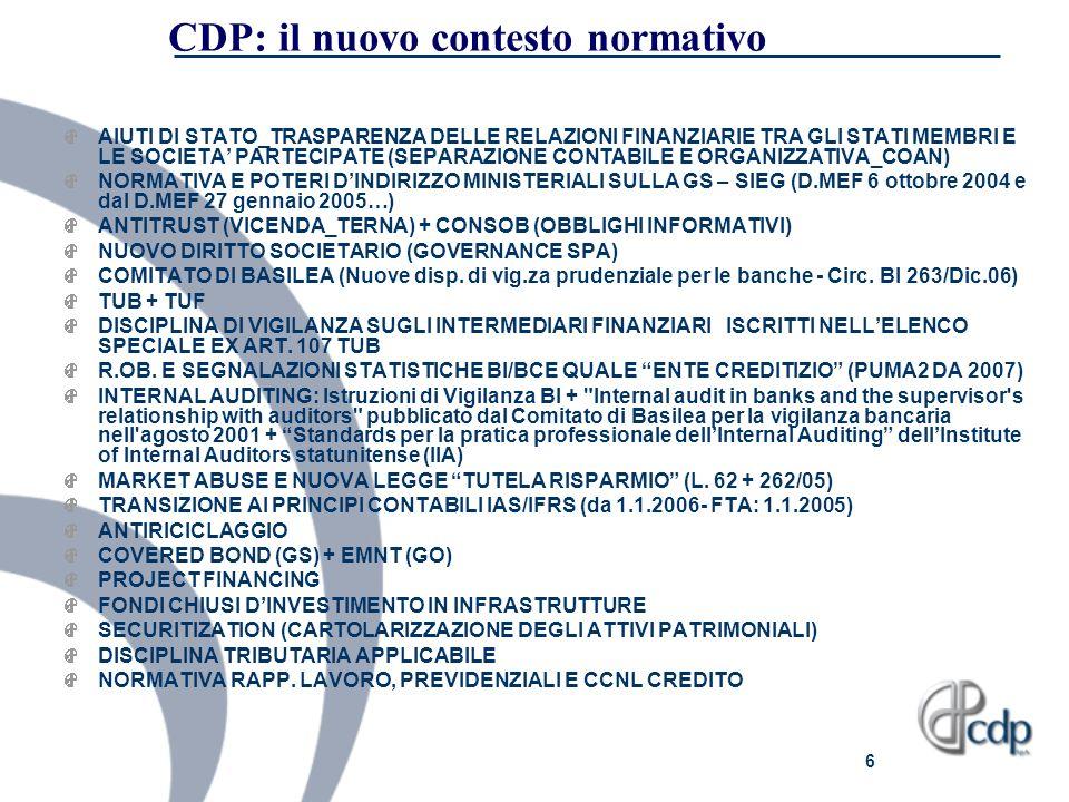 6 CDP: il nuovo contesto normativo AIUTI DI STATO_TRASPARENZA DELLE RELAZIONI FINANZIARIE TRA GLI STATI MEMBRI E LE SOCIETA PARTECIPATE (SEPARAZIONE C