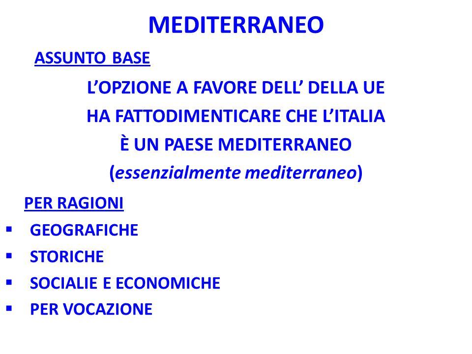 MEDITERRANEO LOPZIONE A FAVORE DELL DELLA UE HA FATTODIMENTICARE CHE LITALIA È UN PAESE MEDITERRANEO (essenzialmente mediterraneo) PER RAGIONI GEOGRAF