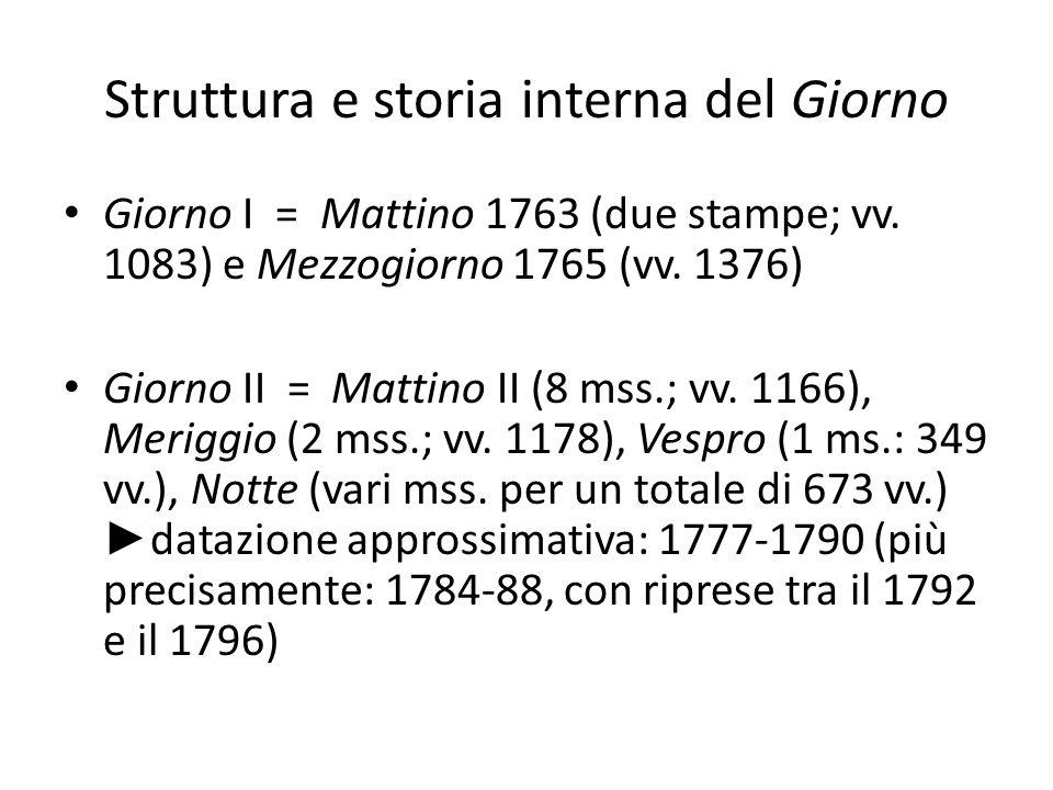 Struttura e storia interna del Giorno Giorno I = Mattino 1763 (due stampe; vv. 1083) e Mezzogiorno 1765 (vv. 1376) Giorno II = Mattino II (8 mss.; vv.
